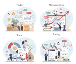 Trader, financial investment concept set. Buy, sell or loss profits, trader strategy, market analysis. Idea of money increase and finance growth. Vector illustration in flat style