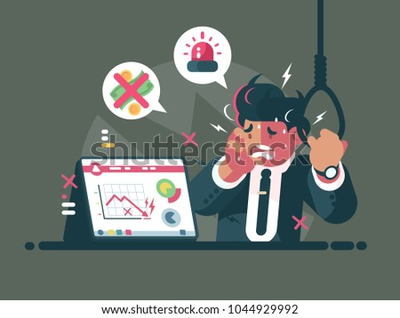 Trader in panic and anxiety. Fall of market and crisis. Vector illustration
