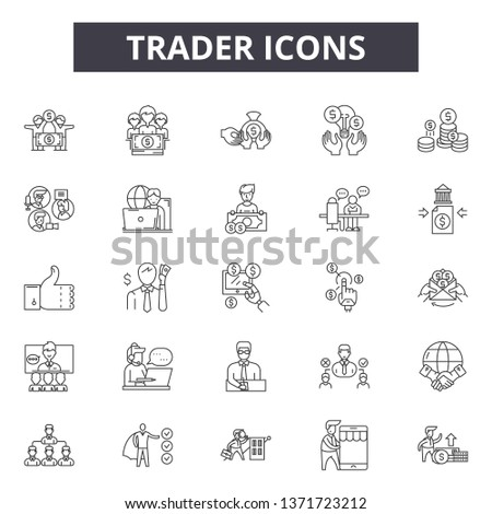Trader line icons, signs set, vector. Trader outline concept, illustration: trader,business,web,investment,flat,finance #1371723212