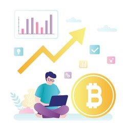 Trader use laptop for online trading. Big bitcoin and growing chart. Cryptocurrency market, blockchain technology. Yellow arrow and businessman. Flat vector illustration