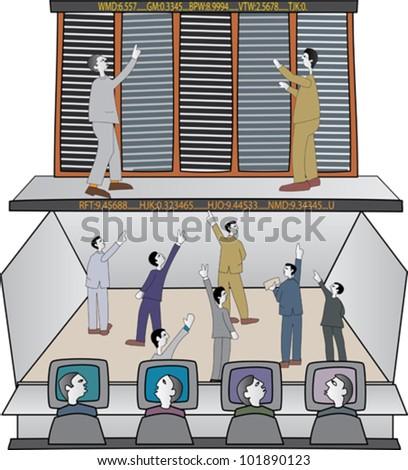 Traders on stock exchange trading floor