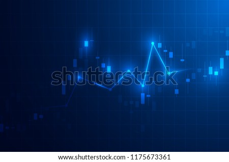 Trading graph. Business candle stick graph chart of stock market investment trading design. Trading platform. Vector illustration