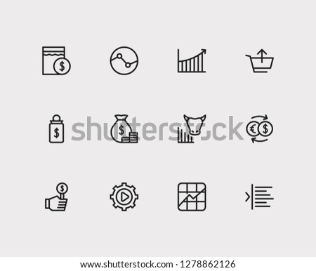 Trading icons set. Yield and trading icons with stock symbol, rally and execution. Set of analysis for web app logo UI design.