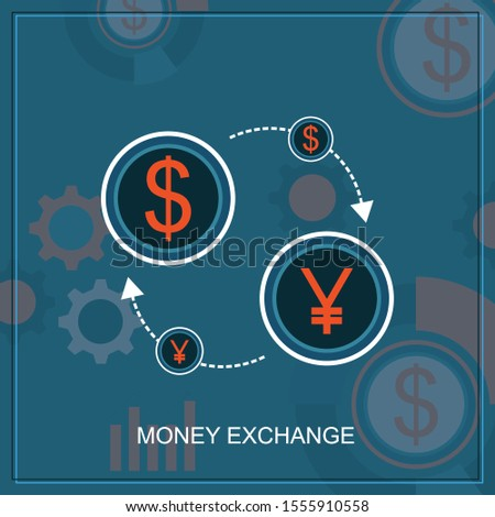 Trading Of Currency Pair Between The Dollar And The Japanese Yen On The Forex Market. Graphic illustration on the theme of 'Currencies / Foreign Exchange,