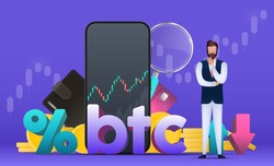 Trading on the bitcoin exchange. A businessman is pondering an idea. Percentage with up and down arrows. Wallet, bank card, schedule, magnifier, phone. Vector.