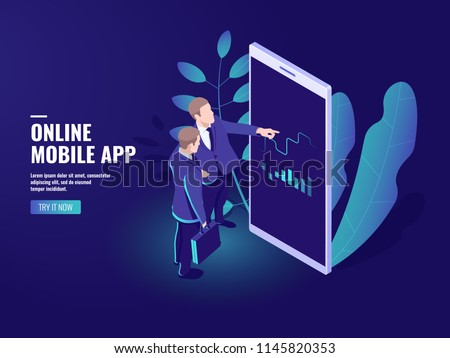 Trading online isometric icon, two businessmen talking, business Analytics and statistics strategy, graphics and charts development on mobile phone screen vector dark neon