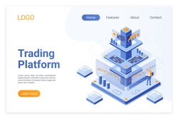 Trading platform isometric landing page template. Online financial market analytics. Digital stock exchange software. Cryptocurrency analyst cartoon character. Broker services webpage design layout.