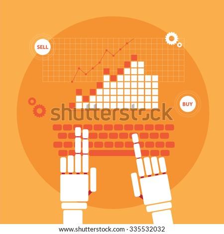 trading robot hands vector