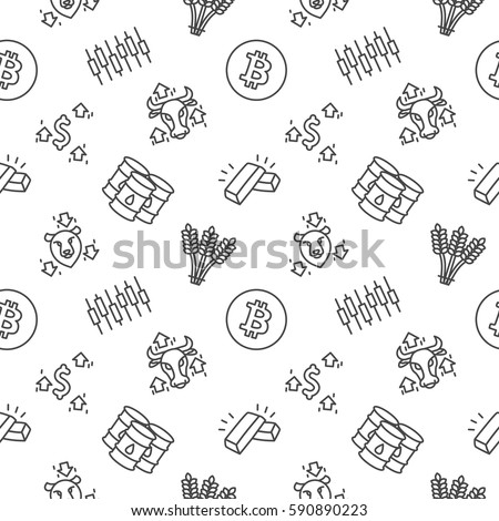 Trading seamless pattern background trendy Forex white
