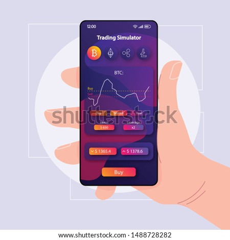 Trading simulation smartphone interface vector template. Mobile app page violet design layout. Cryptocurrency trade simulator screen. Flat UI for application. Hand holding phone with stats on display