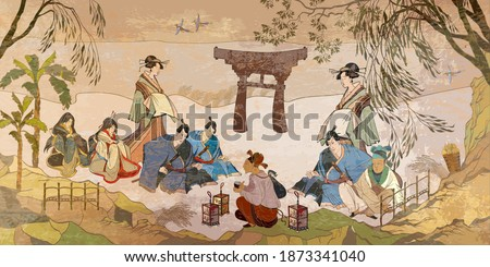 Tradition and culture of Asia.  Ancient Japan. Oriental people. Tea ceremony. Samurai warrior and geisha. Traditional paintings. Classic wall drawing. Murals and watercolor asian style