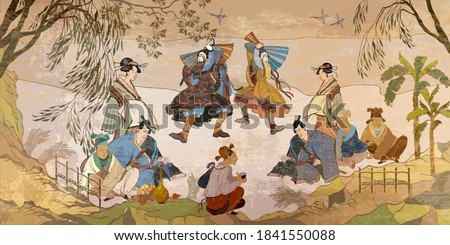 Tradition and culture of Asia. Classic wall drawing. Murals and watercolor asian style. Ancient China and Japan. Oriental people. Tea ceremony. Traditional Chinese paintings