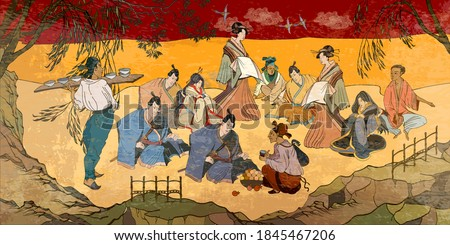 Tradition and culture of Asia. Classic wall drawing. Murals and watercolor asian style. Ancient China and Japan. Oriental people. Tea ceremony. Samurai warrior and geisha. Traditional paintings