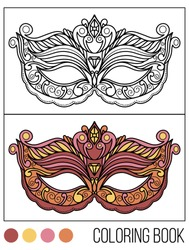 Tradition with carnival mask accessory with coloring book.Decoration festive elegant party design. Beautiful vector illustration.