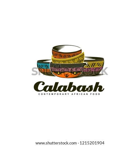 Traditional African Calabash bowl colorful logo illustration Stockfoto ©