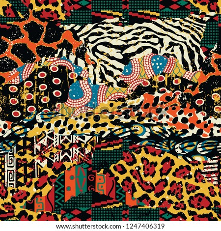 Traditional african fabric and wild animal skins vector seamless pattern