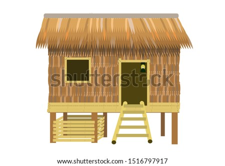 Traditional and typical rural Filipino Home or hut called Bahay Kubo or Cube house that is made of dried nipa palm leaves with wooden foundation and ladder. Editable Clip Art.