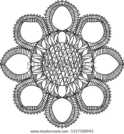 Traditional ñanduti, an idigenous paraguayan lace lineal mandala-like design inspired from spider webs. Foto d'archivio ©