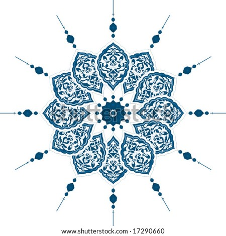 Traditional antique ottoman turkish tile illustration design