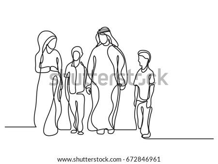 traditional arab family - single line drawing