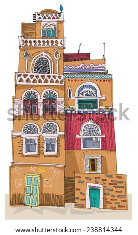 Traditional architecture in mountain village Yemen cartoon
