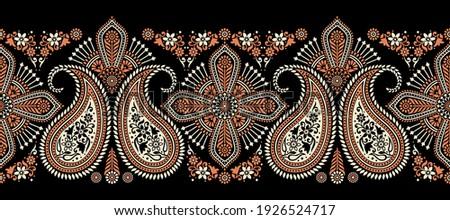 Traditional Asian Paisley Border Design
