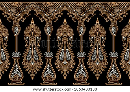 Traditional Asian paisley border on dark background