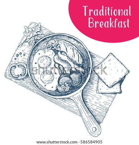 Traditional breakfast in a frying pan top view  vector illustration. English breakfast with fried eggs, bacon, tomato and bread.