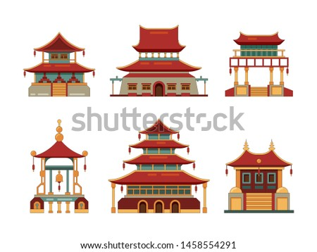 Traditional buildings. Japan and china cultural objects architecture pagoda gate palace heritage vector collection. Chinese building palace, oriental ancient architecture illustration