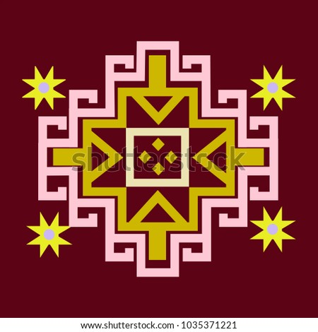Traditional carpet element.Oriental colorful pattern of mandalas. Vector rich ornament with floral elements. Template for textile, carpet, shawl.