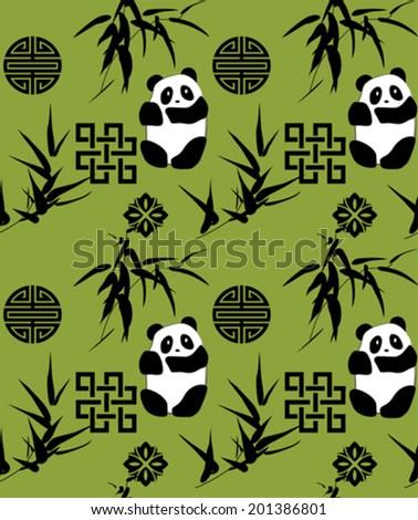 Traditional Chinese bamboo and panda seamless pattern
