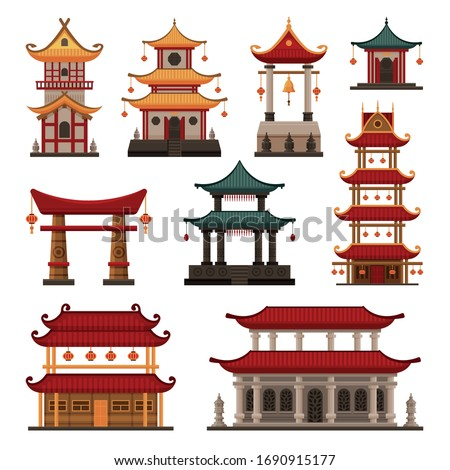 Traditional Chinese Buildings Set, Pagoda, Ancient Temple, Gate, Cultural Oriental Architecture Objects Vector Illustration stock photo