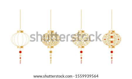 Traditional chinese holiday lanterns. Asian lanterns hanging. Isolated set. vector illustrations