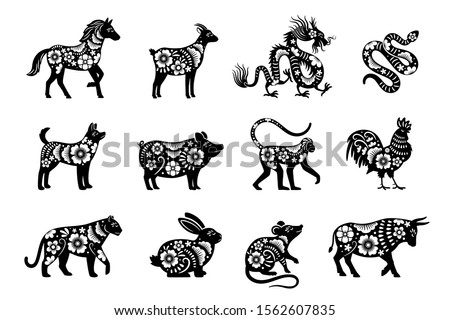 Traditional chinese horoscope with flowers. Chinese new year animals set, tiger and snake, dragon and pig vector mascot drawings with flora patterns