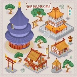 Traditional Chinese map builder illustrations of architecture building elements in isometric isolated vector illustration