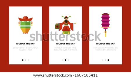Traditional Chinese symbols flat icon set. Lantern, god, New Year. China, tradition, culture concept. Vector illustration symbol elements for web design