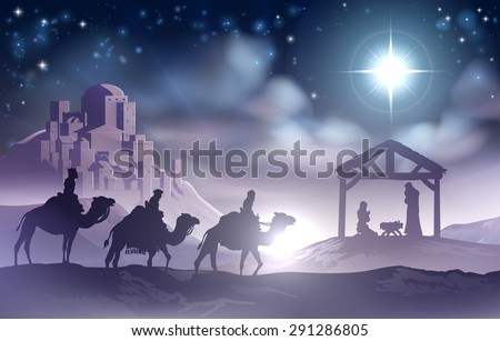 Traditional Christian Christmas Nativity Scene of baby Jesus in the manger with Mary and Joseph in silhouette with wise men