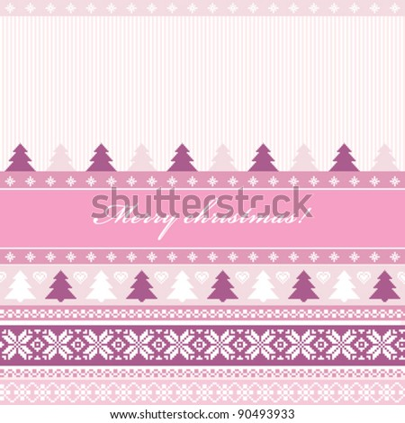 Traditional christmas knitted ornamental background in pink