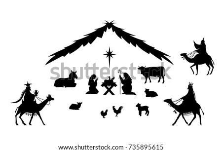 Traditional Christmas scene. Vector background with nativity scene. Baby jesus born in bethlehem.