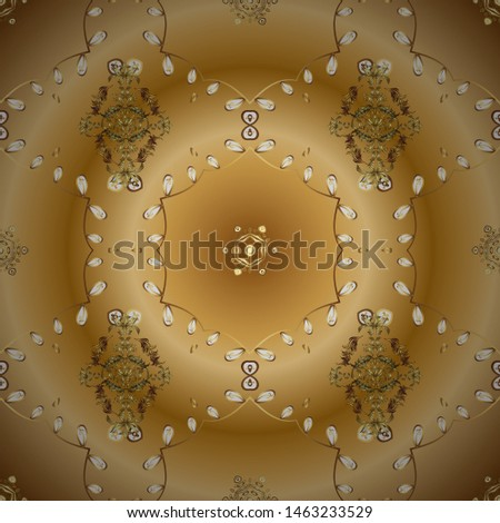 Traditional classic golden pattern. Vector oriental ornament. Oriental ornament in the style of baroque. Golden pattern on beige and yellow colors with golden elements.