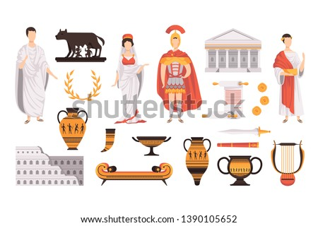 Traditional cultural symbols of ancient Rome set vector Illustrations on a white background Foto stock ©