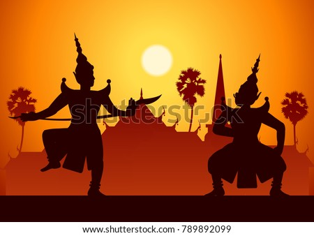 traditional dance drama art of Thai classical masked.Thai ancient literature performance,Ramayana,king  ready to fight with king of giant,silhouette style,scenery background,vector illustration