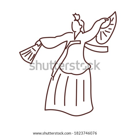 Traditional dance korea icon. Korea Doodle element.  Foto stock ©