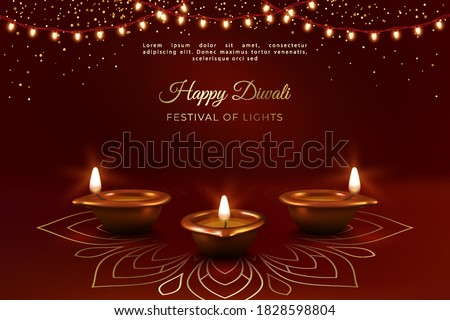 Traditional Diwali Festival banner. Realistic Diya lamps, garland of light bulbs and decorations on a dark background. 3D vector illustration