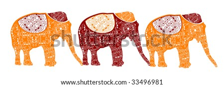 traditional elephants make up the beautiful Indian pattern