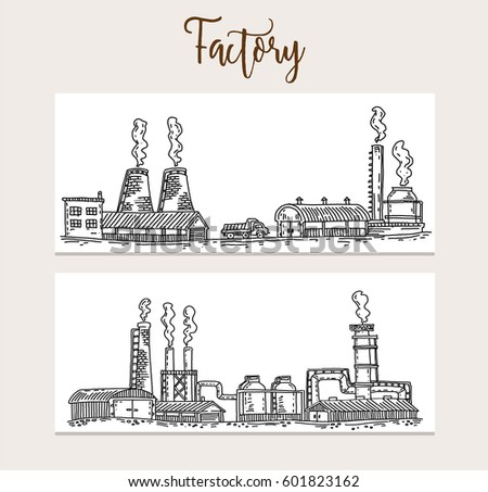 traditional factory, Factory sketch. Vector illustration. Isolated, Modern heavy technical catalyst powerhouse rig mainstay building.