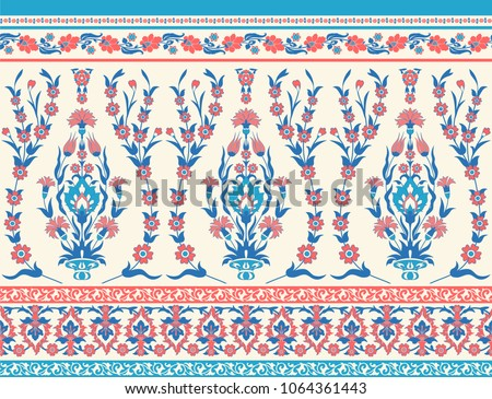 Traditional floral fabric seamless pattern