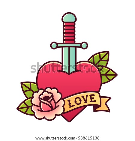 Traditional heart and dagger tattoo with rose and ribbon with word Love.