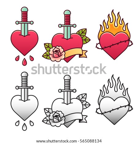 Traditional heart tattoo set, with dagger, rose, ribbon and fire. Classic American oldschool flash tattoos in color and black and white.