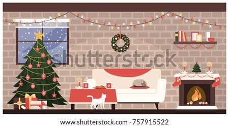 Traditional home interior at Christmas with decorated tree, gifts and sweets on the table